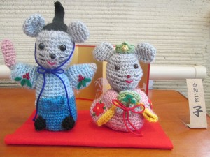 入居者様手作り ねずみさん雛人形