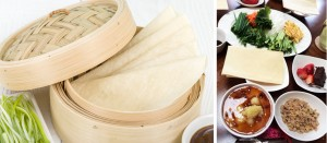 Spring Pancakes - Chinese thin pancakes in a bamboo steamer.